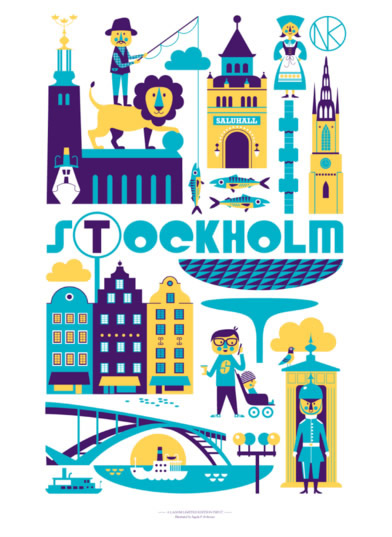 Stockholm City Poster by Ingela Arrhenius for Lagom